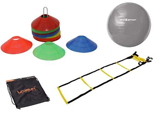 Kit Funcional Escada Agilidade 10 Chapéus Bola 65 Cm e Bolsa