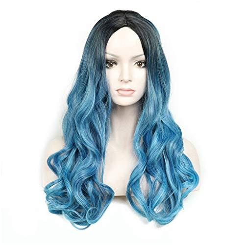 GCX Charme Mesdames Bleu dégradé Longue Perruque de Cheveux bouclés mis Mode Perruque Duveteuse Charmant