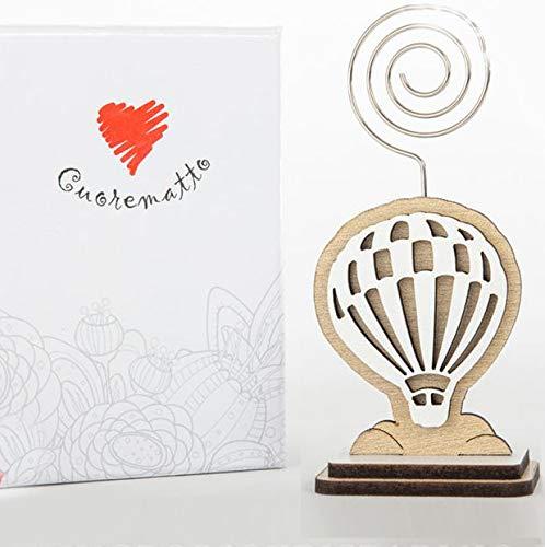 Ingrosso e Risparmio Cuorematto - Portafotos en forma de globo aerostático de madera con varilla de metal, para recuerdos de boda, con caja de regalo incluida