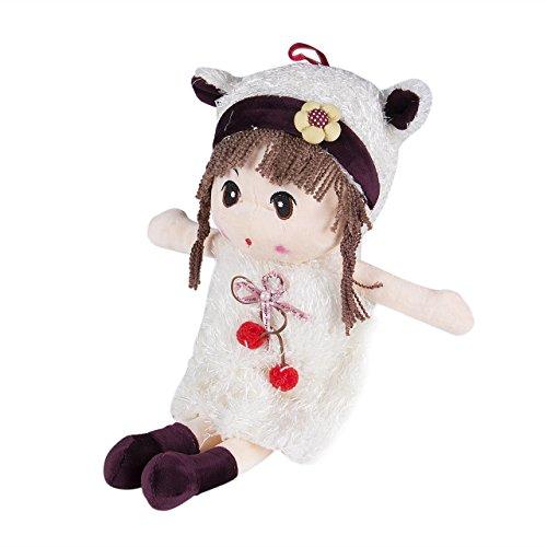 jsadfojas Weiches Plüsch Puppenspielzeug, süße Stoffpuppe mit Kleidung und Haaren,40cm,Spielzeug ab 18 Monaten,Geschenk für Mädchen (Weiß, 40CM)