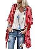 ORANDESIGNE Mujer Cárdigan Kimono Florales Manga 1/2 Tops Blusa Floral Suelta Casual Boho Style Bikini Cover Up Cubierta de Playa Rojo 48