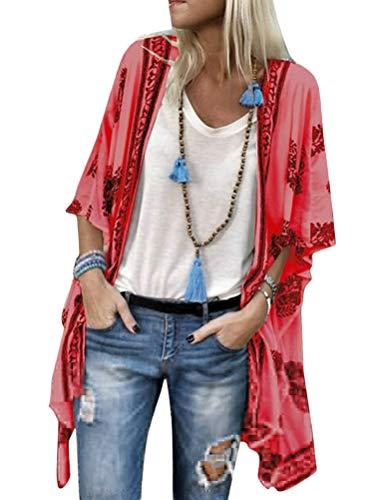 ORANDESIGNE Damen Lange Sommer Boho Strand Kimono Cardigan Bluse Blumen Tops Elegant Bikini Cover Up Oversize Strickjacke Outwear Pareo Rot 38