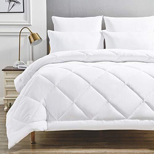 WAVVE Bettdecke 155x220 4 Jahreszeiten, Microfaser Steppdecke, Super Weiche Kuschelige Steppbettdecke, Weiß