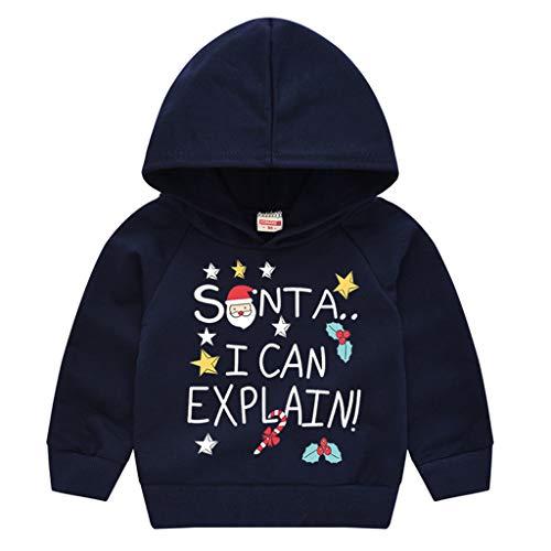 DolceTiger Sweat Noel Enfant Garcon Manche Longue Christmas Sweater Renne Animaux Cartoon Sweatshirt Pull Chaud Chemise Col Rond