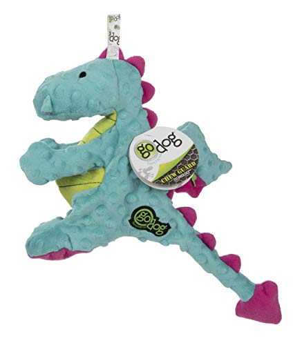 goDog Dragons with Chew Guard Technology Plush Dog Toy, Large, Turquoise