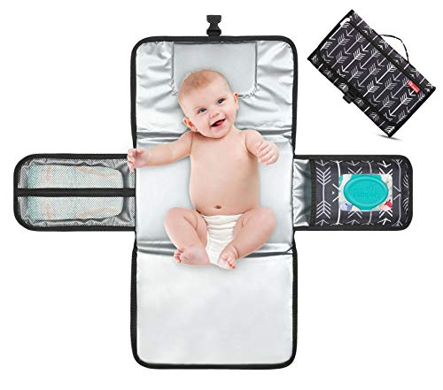 Portable Diaper Changing Pad with Built-in Head Cushion,...