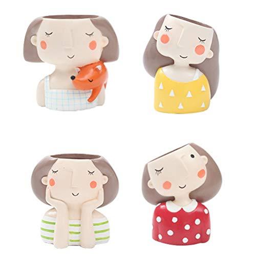 OUNONA 4 macetas para suculentas para niña, para decoración de hogar, oficina, diseño de cactus