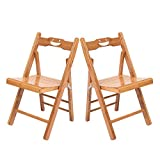 Fovor Bamboo Wood Folding Chair Set of 2,Outdoor Patio Armless Chairs for Outside Wooden Bistro Furniture for Lawn, Deck, Balcony, Garden and Porch