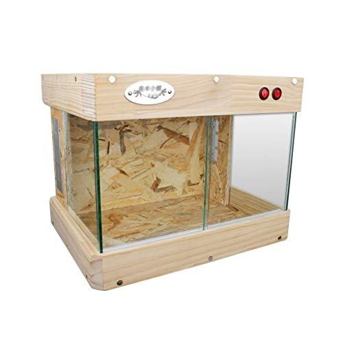 Panorámica Puertas corredizas Caja, Madera Breed Gecko Erizo Tanque, Pet Shop Tierra Tortuga Hamster Nido, Vivarium 2020NEW (Size : 43 * 31.5 * 33CM)