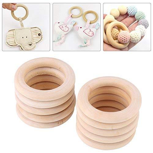 50 stuks houten ringen, 50 mm onfinished natuurlijke houten ronde ringen DIY hout handwerk decoratieve cirkels accessoires voor handgemaakte sieraden maken armband slinger haar