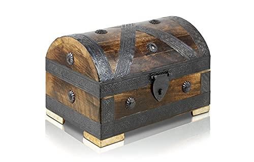 Brynnberg - Caja de Madera Cofre del Tesoro con candado Pirata de Estilo Vintage, Hecha a Mano, Diseño Retro 24x16x16cm