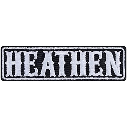Parche termoadhesivo Heathen para motoristas, roqueros, adhesivo resistente de metal antirreflexión, regalo de cumpleaños para mujeres/hombres, para chaquetas, chalecos, vaqueros, botas, 90 x 25 mm