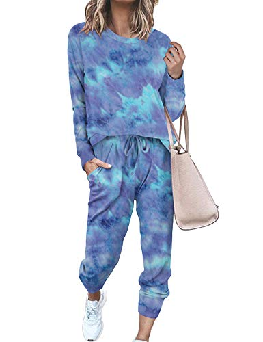 Womens Fall Two Piece Outfits Casual Long Sleeve Tie Dye Sweatsuit Set...