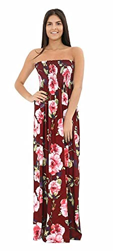 YCC Vestido maxi estampado floral tropical para mujer, sin mangas, para verano, playa, bandeau boobtube, informal, talla única, Flor de vino, Taille unique