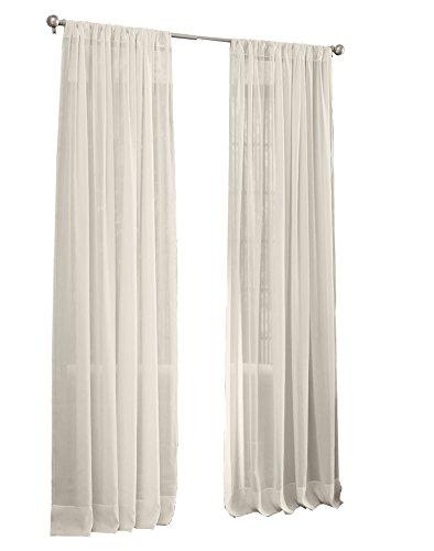 "LA Linen Sheer Voile Drape Panel (Pack of 1), 108 by 118"", Ivory"