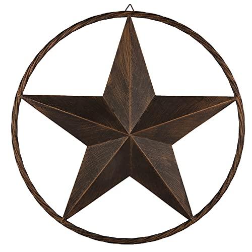 EBEI Metal Barn Star Circle Rustic Style Decorative 24' Vintage Texas Lone Star Dark Brown Western Home Wall Decor