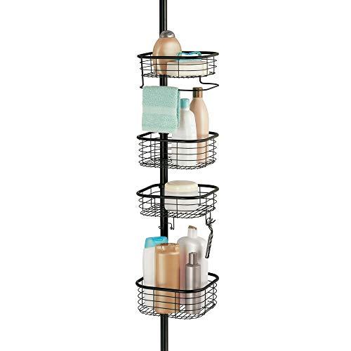 mDesign Estantería de baño sin taladro – Práctica estantería esquinera para ducha en metal y plástico – Organizador de baño extensible con toallero y 4 cestas para champú, gel, etc. – negro