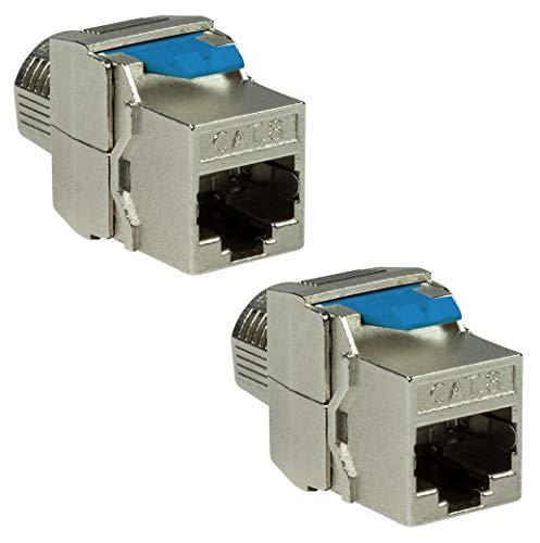 odedo 2 conectores Keystone CAT 8.1 hembra RJ45 STP de red sin herramientas, 16,5 mm