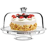 "tebery 6-in-1 acrylic cake stand cake plate with 12""dome multi-function serving platter, salad &"