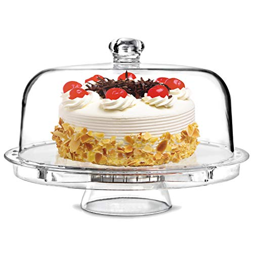 """Tebery 6-in-1 Acrylic Cake Stand Cake Plate with 12""""Dome Multi-Function Serving Platter, Salad & Punch Bowl"""
