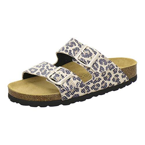 AFS-Schuhe 2100, Bequeme Damen Pantoletten echt Leder, praktische Arbeitsschuhe, Hausschuhe, Handmade in Germany (37 EU, Braun/Natur)