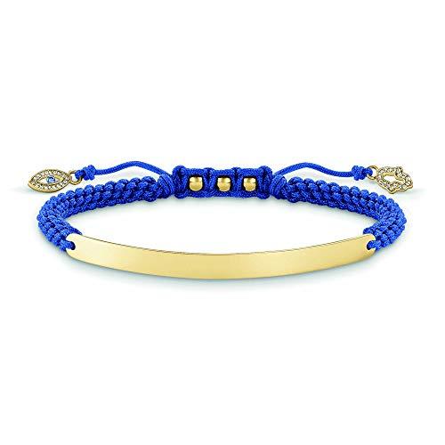 Thomas Sabo Damen-Armband Love Bridge 925 Sterling Silber 750 gelbgold vergoldet, blau Länge von 14.5 bis 21 cm Brücke 5 cm