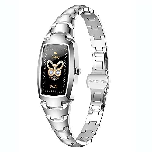 Ladies Smart Watch Monitor de ritmo cardíaco Calorie Contador Pedómetro Mensaje RECORDATORIO SUEÑO MONITOR DE LUJO Pulsera de cristal de lujo Modos de deportes Rose Gold Activity Tracker para mujeres