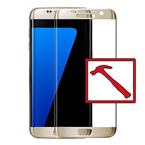 Slabo Premium Pellicola Protettiva in Vetro Temperato per Samsung Galaxy S7 Edge Full Cover Pellicola Protettiva Schermo Tempered Glass Crystal Clear - Graffi Fino a 9H - Cornice Oro
