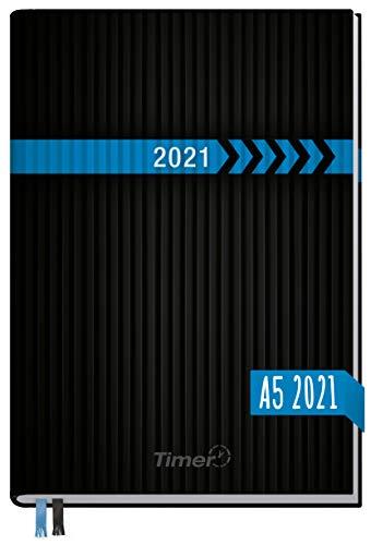 Chäff-Timer Classic A5 Kalender 2021 [Schwarz-Blau] mit 1 Woche auf 2 Seiten | Terminplaner, Wochenkalender, Organizer, Terminkalender mit Wochenplaner | nachhaltig & klimaneutral