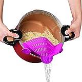 Passoire en silicone à clipser, mains libres, compatible avec toutes les casseroles et bols approuvé par la FDA, silicone résistant à la chaleur, facile à utiliser et à ranger, Vert