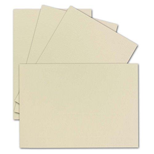 50 Einzel-Karten DIN A6-10,5 x 14,8 cm - 240 g/m² - Vanille/Creme gerippt - Ton-Papier Qualität, Bastel-Karten - Bastelkarton - blanko Postkarten