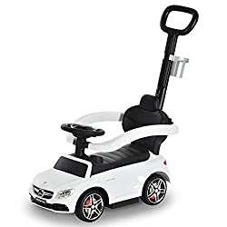 ✅DUO DESIGN: Can be used as a ride-on car and a stroller, allowing them to be in control or for you to push them along. Official Mercedes-Benz design your little one will love. Long handle on the back allows you to push along. ✅MOVING STEERING WHEEL:...