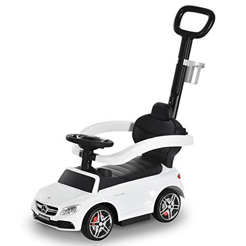 HOMCOM Kinderauto von Mercedes Benz Kinderfahrzeug Schub- und Haltestange mit Rückenlehne/Schutzbügel, Lauflernhilfe für Babys 12-36 Monate (Weiß)