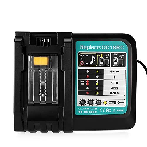 Powilling Cargador de batería de ion de litio para Makita 14,4 V-18 V, DC18RC, BL1860, BL1850, BL1840, BL1830, BL1430, DC18RA, DC18RC y DC18RD, 3 A