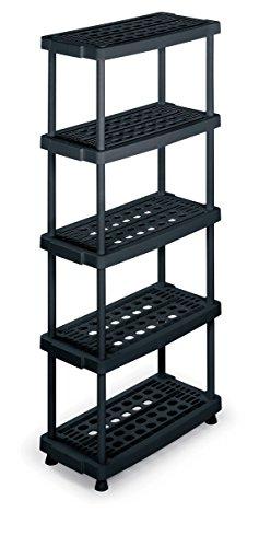 TERRY TS1001251 - Estantería de plástico con 5 niveles ventilados, Negro, 79x39x176 cm