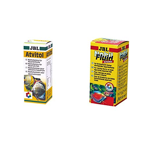 JBL Atvitol 20300 Multivitamin für Aquarienfische, Tropfen 50 ml & NobilFluid Artemia 30881 Aufzuchtfutter für Jungfische eierlegender Aquarienfische, Fluid 50 ml