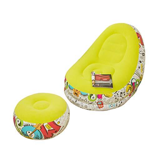 Prevessel Sofá inflable perezoso tumbado, sábana de cama, sofá inflable, dormitorio, bonito reclinable, pequeño descanso para almuerzo, silla de sofá, silla de ocio y reposapiés