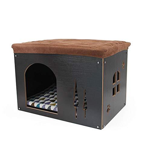 SONGWAY Casa de Madera Perro Gato-Taburete Caseta para Mascota Plegable con Cojín Extraíble, 57×40×40cm,Negro