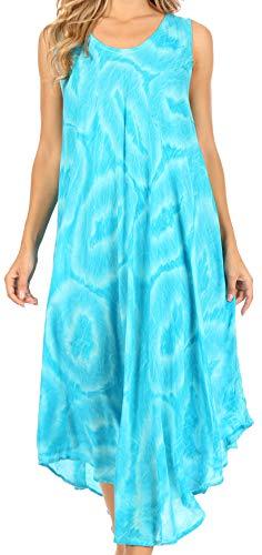 Sakkas 18609 - Rocio Frauen Sleeveless Kaftan Beach vertuschen Dress Casual Relaxed Tie Farbstoff - Turq - OS