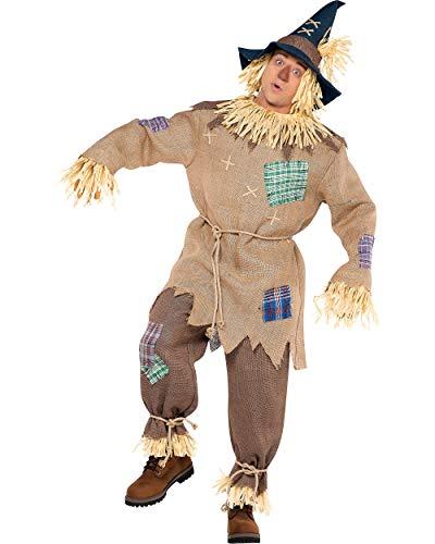 amscan- Brown Mr. Scarecrow Costume with Pointed Hat for Adults-Size Standard Disfraz de Sr. espantapájaros marrón con sombrero puntiagudo para adultos – Tamaño estándar – 1 PC, Color (840288)