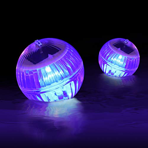 OSALADI 2 luces solares flotantes para piscina con luces que cambian de color de flotación, para piscina, IP67, impermeable, estanca de la bola de la decoración de la noche para la natación
