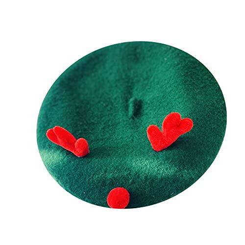 Gojiny AChristmas Elk Horn Hat Mujer Salvaje Caliente Pintor Sombrero de Navidad Boina de lana con cuernos de fieltro Sombrero cálido para Navidad Invierno Uso diario