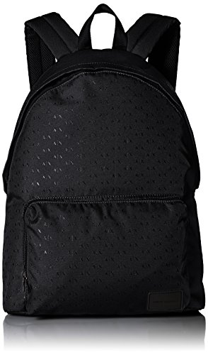 Armani Exchange Herren Logo Silver Backpack Rucksack, Schwarz (Black), 21x13.5x27 cm