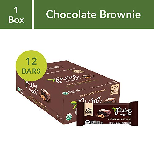 Pure Organic Chocolate Brownie Bar, Gluten-Free, Certified Organic, Non-GMO, Vegan, Kosher, Plant Based Whole Food Nutrition Bar, 1.7 ounce (Pack of 12) ( Pack May Vary )