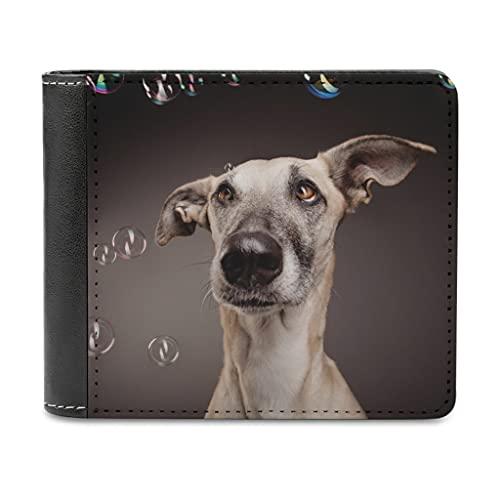 Billetera unisex de piel con burbujas de perro, para regalar a amigos/hombres/padre, blanco, talla única,