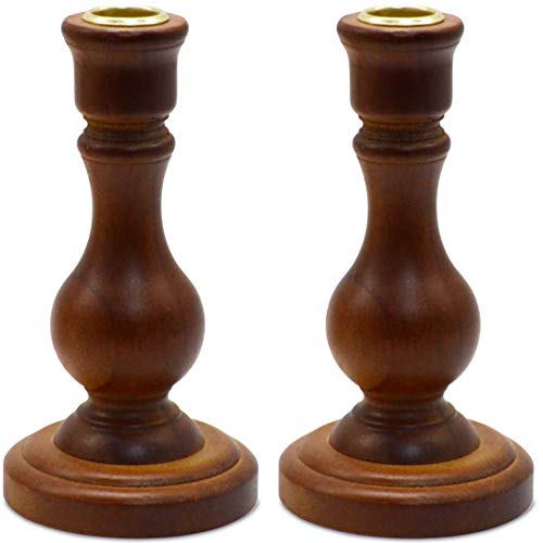 Classic Polished Wooden Candlesticks, Set of 2 Taper Candle Holder Stand, Rounded Turned Columns, Country Style
