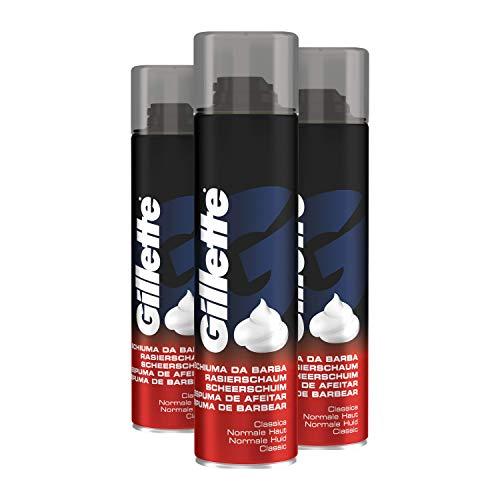 Gillette Rasieschaum Männer für normale Haut, beruhigt und erfrischt die Gesichtshaut, 3 x 300 ml