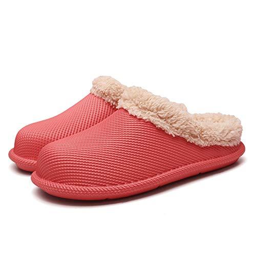 Zapatillas de algodón Zapatillas de algodón Zapatillas cálidas Antideslizantes Zapatillas peludas de versión Ancha para el hogar Zapatillas para Interiores y Exteriores Impermeables(41, Red)