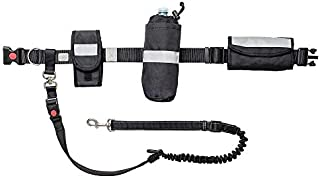 Waist Belt & Bungee Leash, Retractable Hands Free Dog Leash, Shock Absorber for Running, Walking, Hiking, Jogging, Animals up to 100 lbs,Reflective Detailing, Pouches for Phone/Treats/Water