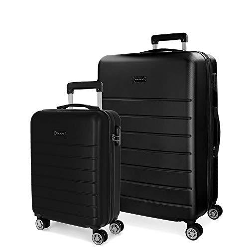 Roll Road Magazine Juego de maletas Negro 55/66 cms Rígida ABS Cierre combinación 99L 4 Ruedas Dobles Equipaje de Mano